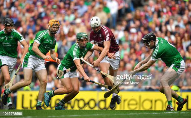 Dublin Ireland 19 August 2018 Joe Canning of Galway in action against Limerick players from left Richie English Seán Finn and Declan Hannon during...