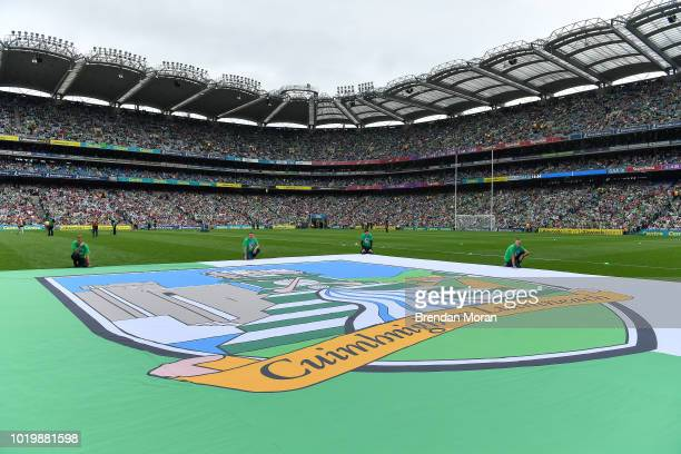 Dublin Ireland 19 August 2018 Limerick crest on the pitch prior to the GAA Hurling AllIreland Senior Championship Final match between Galway and...