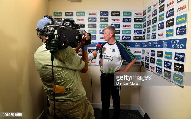 Dublin Ireland 19 August 2018 Limerick manager John Kiely is interviewed by television after the GAA Hurling AllIreland Senior Championship Final...