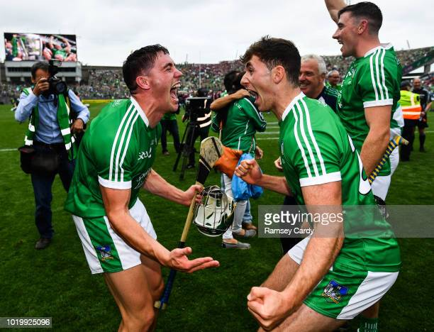 Dublin Ireland 19 August 2018 Seán Finn left and Barry Nash of Limerick celebrate following their victory in the GAA Hurling AllIreland Senior...