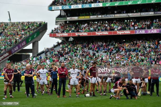 Dublin Ireland 19 August 2018 The dejected Galway team after the GAA Hurling AllIreland Senior Championship Final match between Galway and Limerick...