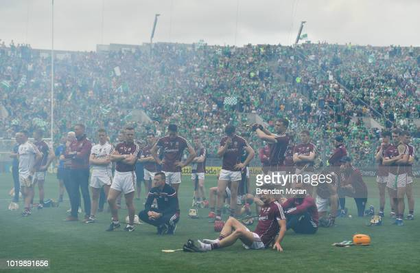 Dublin Ireland 19 August 2018 The dejected Galway team are seen through the smoke from fireworks after the GAA Hurling AllIreland Senior Championship...