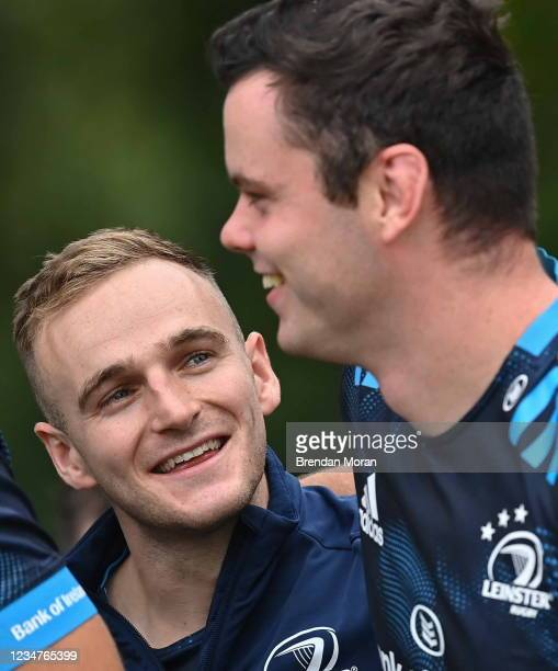 Dublin , Ireland - 19 August 2021; Nick McCarthy, left, and James Ryan arrive for Leinster Rugby squad training at UCD in Dublin.