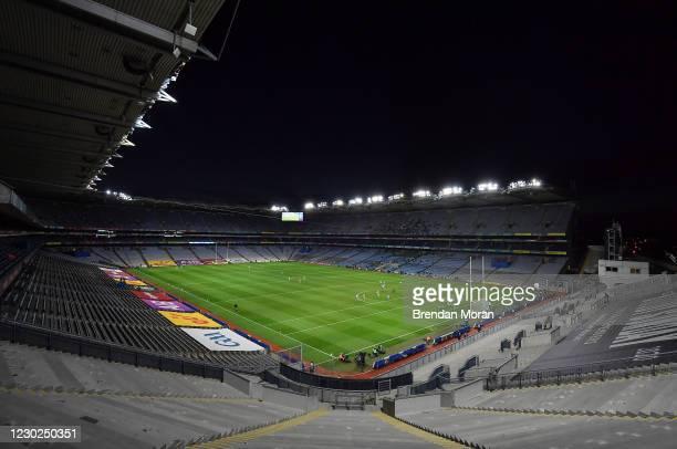 Dublin , Ireland - 19 December 2020; Dean Rock of Dublin scores his side's first goal during the GAA Football All-Ireland Senior Championship Final...