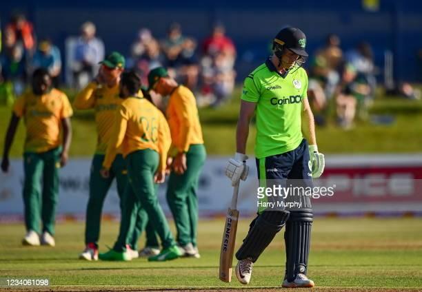 Dublin , Ireland - 19 July 2021; Shane Getkate of Ireland walks during the Men's T20 International match between Ireland and South Africa at Malahide...