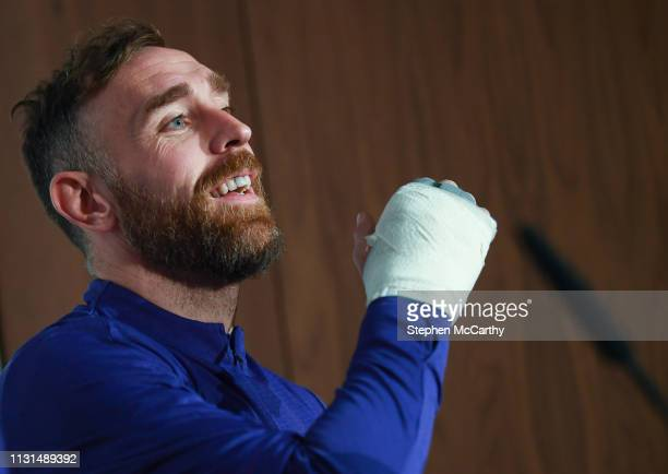 Dublin Ireland 19 March 2019 Richard Keogh during a Republic of Ireland press conference at the FAI National Training Centre in Abbotstown Dublin