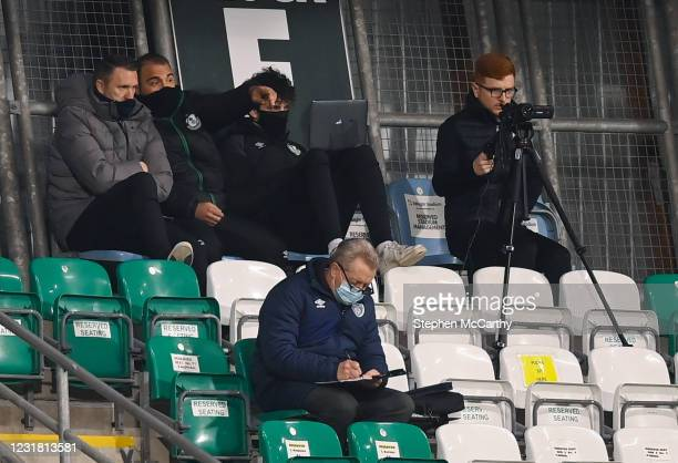Dublin , Ireland - 19 March 2021; Robbie Keane, left, and Shamrock Rovers goalkeeping coach Jose Ferrer during the SSE Airtricity League Premier...