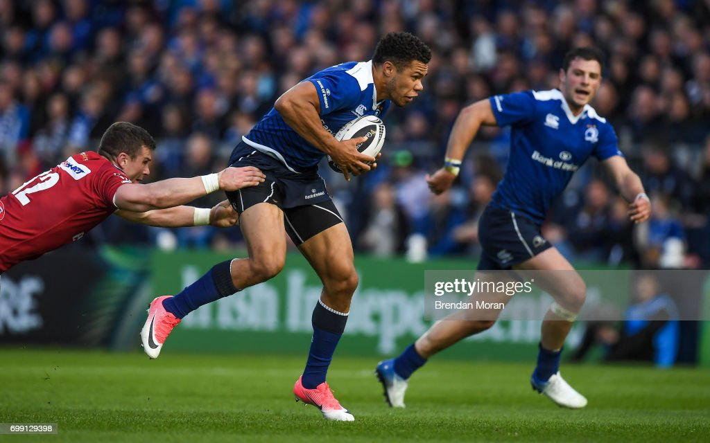 Dublin , Ireland - 19 May 2017; Adam Byrne of Leinster is tackled by Scott Williams of Scarlets during the Guinness PRO12 Semi-Final match between Leinster and Scarlets at the RDS Arena in Dublin.