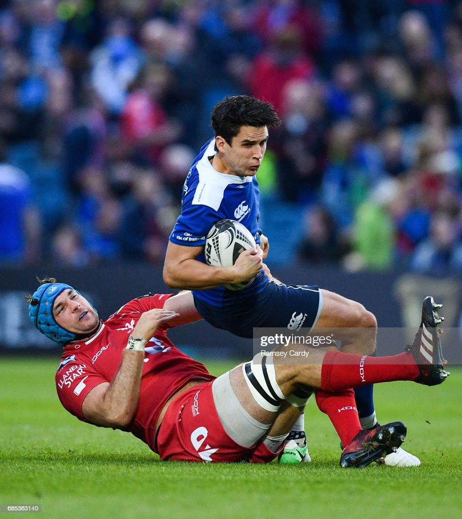 Dublin , Ireland - 19 May 2017; Joey Carbery of Leinster is tackled by Tadhg Beirne of Scarlets during the Guinness PRO12 Semi-Final match between Leinster and Scarlets at the RDS Arena in Dublin.