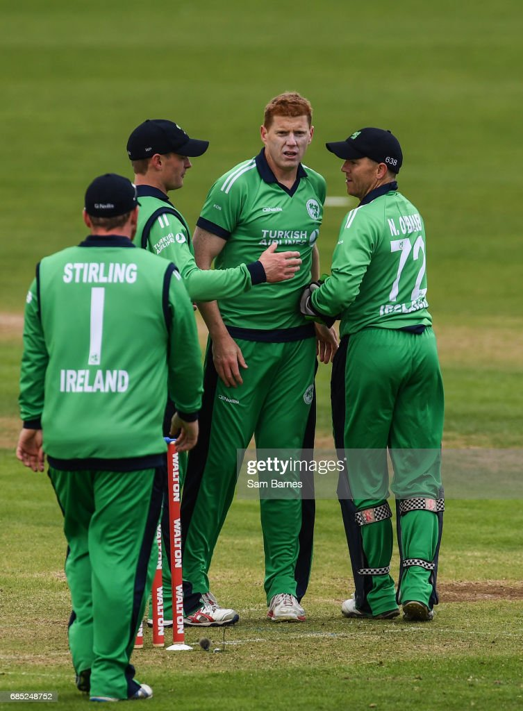 Dublin , Ireland - 19 May 2017; Kevin OBrien of Ireland, second from right, is congratulated by team mates after claiming the wicket of Tamim Iqbal of Bangladesh during the One Day International match between Ireland and Bangladesh at Malahide Cricket Club in Dublin.