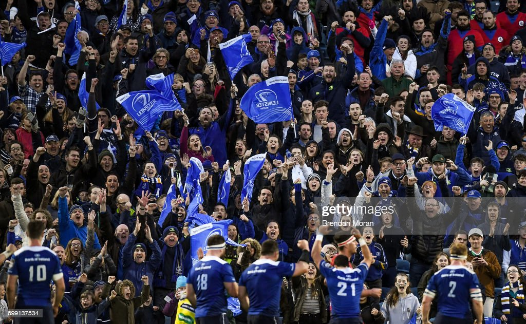 Dublin , Ireland - 19 May 2017; Leinster fans cheer a score for their side during the Guinness PRO12 Semi-Final match between Leinster and Scarlets at the RDS Arena in Dublin.