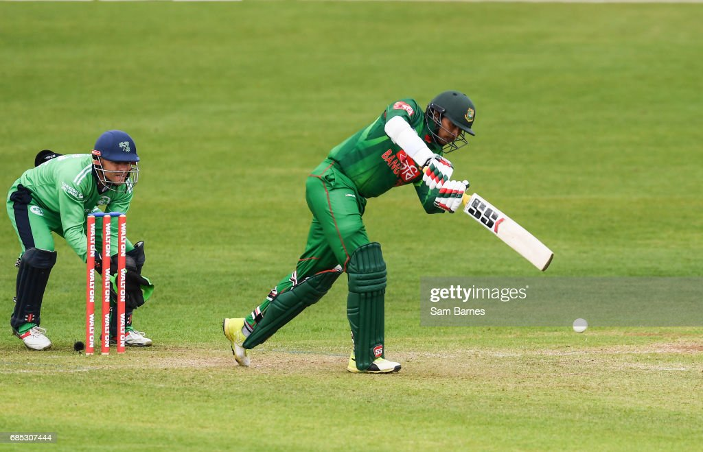 Dublin , Ireland - 19 May 2017; Soumya Sarkar of Bangladesh and Niall O'Brien of Ireland during the One Day International match between Ireland and Bangladesh at Malahide Cricket Club in Dublin.