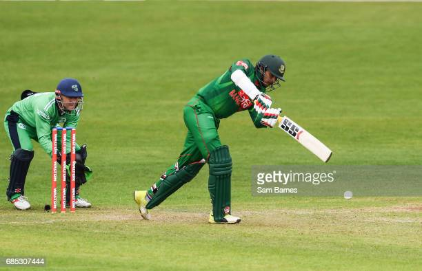 Dublin Ireland 19 May 2017 Soumya Sarkar of Bangladesh and Niall O'Brien of Ireland during the One Day International match between Ireland and...