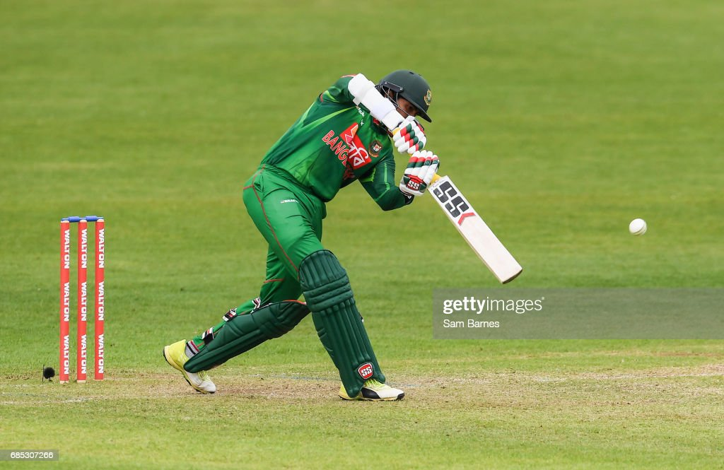 Dublin , Ireland - 19 May 2017; Soumya Sarkar of Bangladesh hits a four during the One Day International match between Ireland and Bangladesh at Malahide Cricket Club in Dublin.