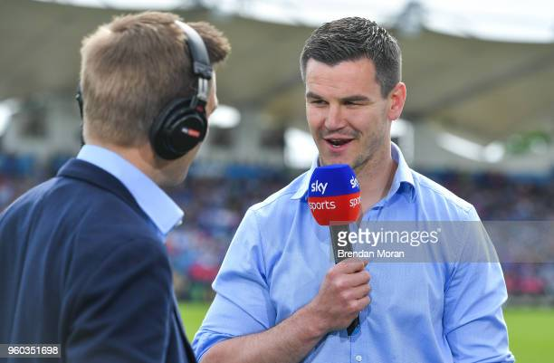 Dublin Ireland 19 May 2018 Jonathan Sexton of Leinster speaks to Sky Sports at halftime of the Guinness PRO14 semifinal match between Leinster and...