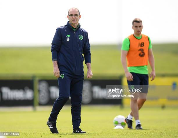 Dublin Ireland 19 May 2018 Republic of Ireland manager Martin O'Neill and Seamus Coleman during Republic of Ireland squad training at the FAI...
