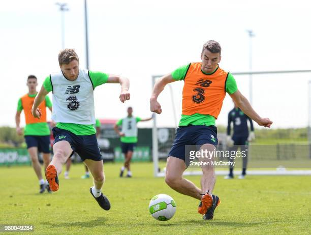 Dublin Ireland 19 May 2018 Seamus Coleman and Eunan O'Kane left during Republic of Ireland squad training at the FAI National Training Centre in...