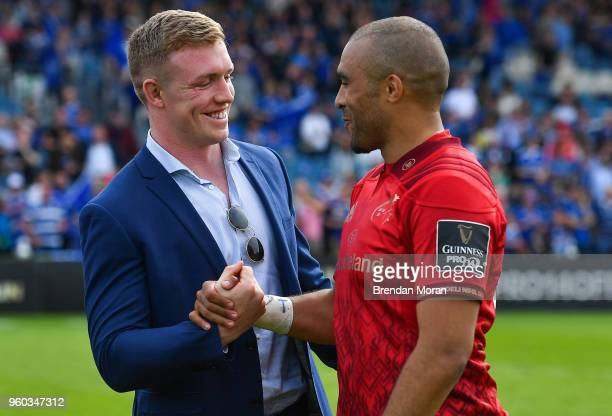 Dublin Ireland 19 May 2018 Simon Zebo of Munster right with Dan Leavy of Leinster after the Guinness PRO14 semifinal match between Leinster and...