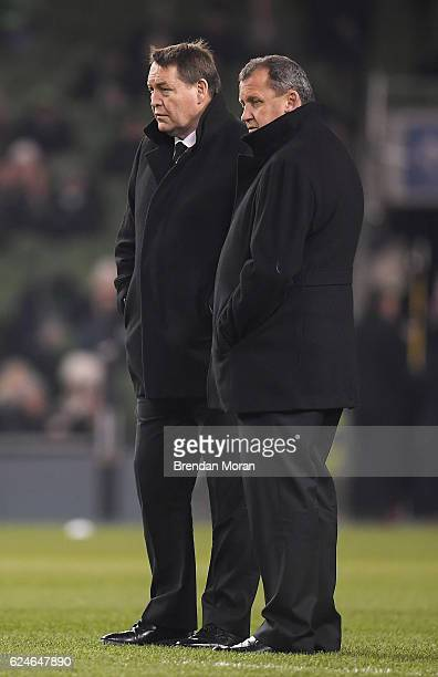 Dublin Ireland 19 November 2016 New Zealand head coach Steve Hansen left with assistant coach Ian Foster ahead of the Autumn International match...