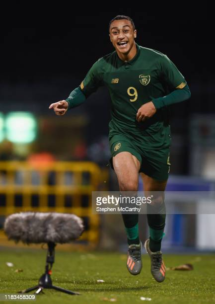 Dublin Ireland 19 November 2019 Adam Idah of Republic of Ireland celebrates after scoring his side's second goal during the UEFA European U21...