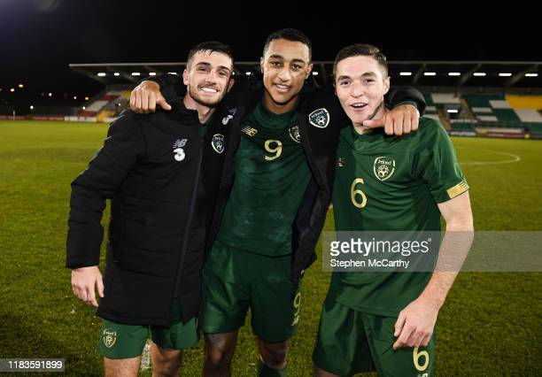 Dublin Ireland 19 November 2019 Republic of Ireland players from left Troy Parrott Adam Idah and Conor Coventry following the UEFA European U21...
