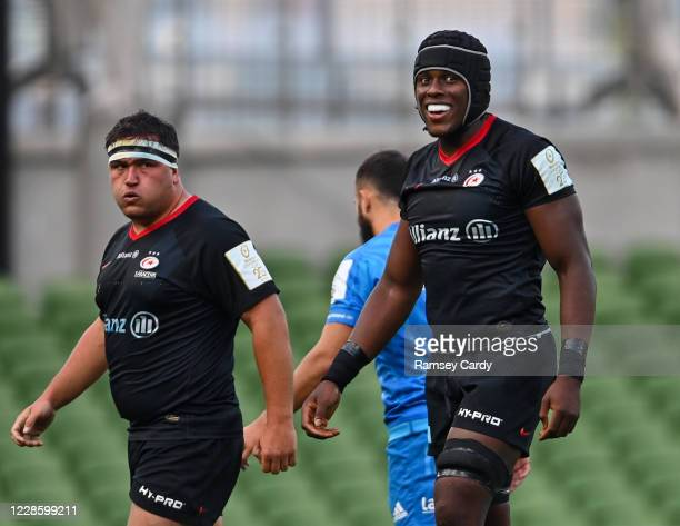 Dublin Ireland 19 September 2020 Jamie George left and Maro Itoje of Saracens during the Heineken Champions Cup QuarterFinal match between Leinster...