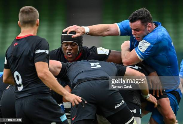 Dublin Ireland 19 September 2020 Maro Itoje of Saracens and James Ryan of Leinster during the Heineken Champions Cup QuarterFinal match between...