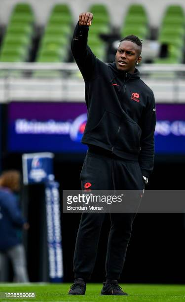 Dublin Ireland 19 September 2020 Maro Itoje of Saracens checks the wind prior to the Heineken Champions Cup QuarterFinal match between Leinster and...