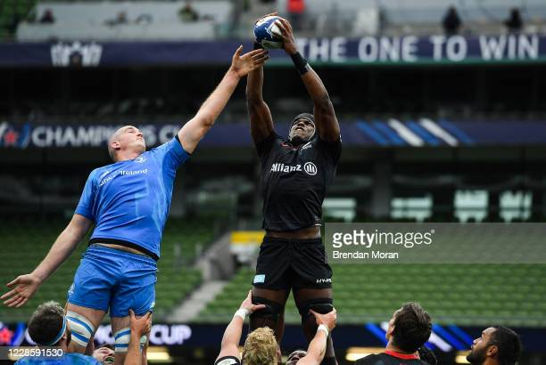 Dublin Ireland 19 September 2020 Maro Itoje of Saracens wins a lineout ahead of Devin Toner of Leinster during the Heineken Champions Cup...