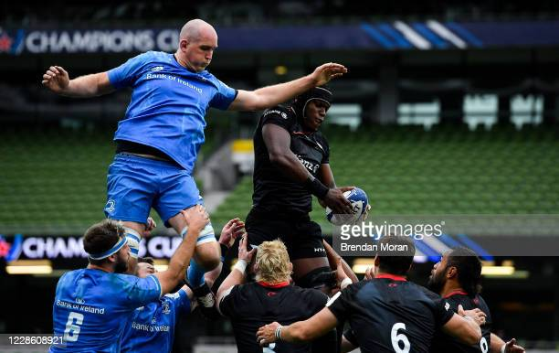 Dublin Ireland 19 September 2020 Maro Itoje of Saracens wins a lineout from Devin Toner of Leinster during the Heineken Champions Cup QuarterFinal...