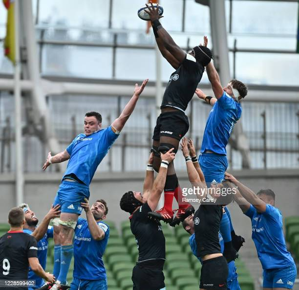 Dublin Ireland 19 September 2020 Maro Itoje of Saracens wins possession in the lineout ahead of James Ryan and Ryan Baird of Leinster during the...