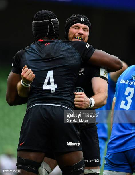 Dublin Ireland 19 September 2020 Tim Swinson right and Maro Itoje of Saracens celebrate winning a scrum penalty during the Heineken Champions Cup...