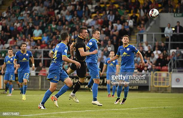 Dublin , Ireland - 2 August 2016; David McMillan, centre, of Dundalk scores his side's first goal during the UEFA Champions League Third Qualifying...