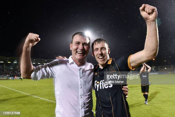 Dublin Ireland 2 August 2016 Dundalk manager Stephen Kenny left celebrates with David McMillan after the UEFA Champions League Third Qualifying Round...