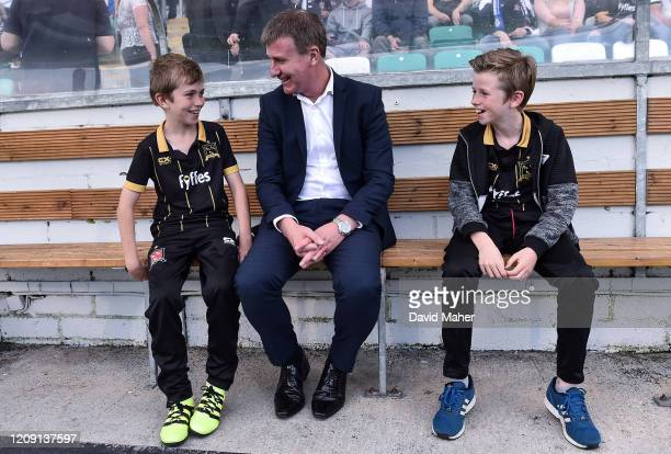 Dublin Ireland 2 August 2016 Dundalk manager Stephen Kenny with his two sons Eoin left age 10 and Fionn age 12 prior to the UEFA Champions League...