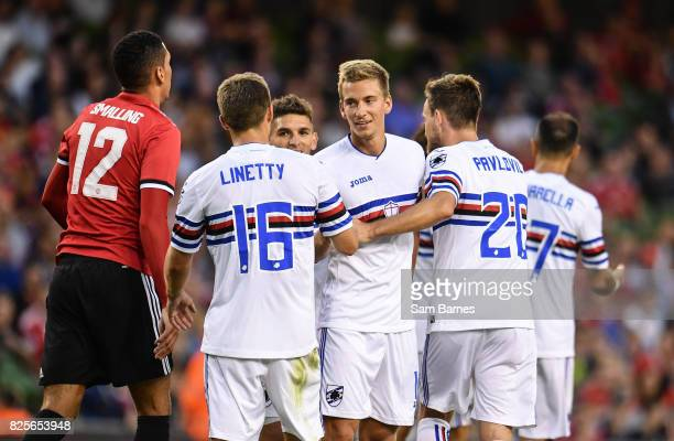 Dublin Ireland 2 August 2017 Dennis Praet of Sampdoria celebrates with Karol Linetty of Sampdoria after scoring his side's first goal of the game...