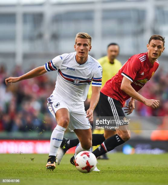 Dublin Ireland 2 August 2017 Dennis Praet of Sampdoria in action against Nemanja Matic of Manchester United during the International Champions Cup...