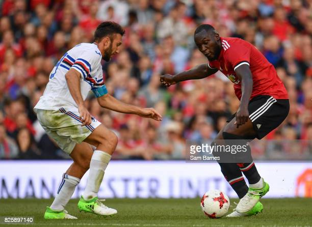Dublin Ireland 2 August 2017 Romelu Lukaku of Manchester United in action against Vasco Regini of Sampdoria during the International Champions Cup...
