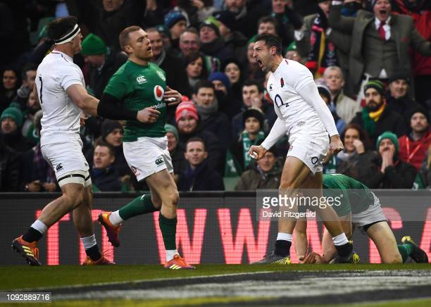 Dublin Ireland 2 February 2019 Jonny May of England celebrates after scoring his side's first try during the Guinness Six Nations Rugby Championship...