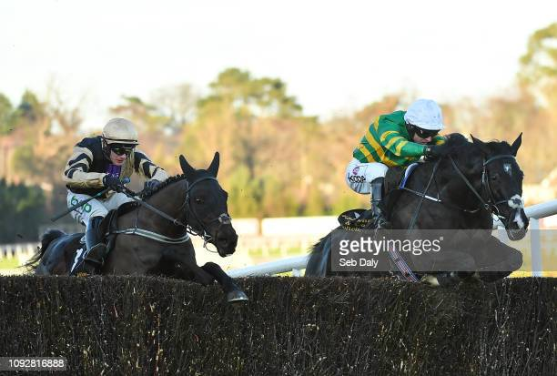Dublin Ireland 2 February 2019 Le Richebourg right with Mark Walsh up jumps the last alongside Voix Du Reve with Paul Townend up on their way to...