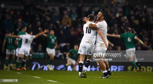 Dublin Ireland 2 February 2019 Owen Farrell left and Billy Vunipola of England celebrate their side's third try during the Guinness Six Nations Rugby...