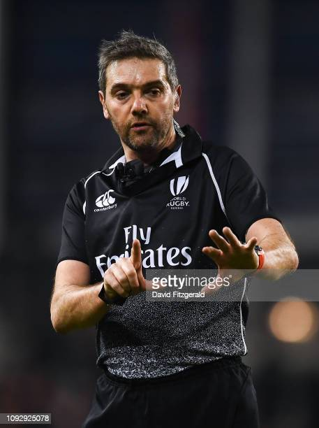 Dublin Ireland 2 February 2019 Referee Jérôme Garcès during the Guinness Six Nations Rugby Championship match between Ireland and England in the...