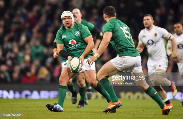 Dublin Ireland 2 February 2019 Rory Best of Ireland passes to teammate Robbie Henshaw during the Guinness Six Nations Rugby Championship match...