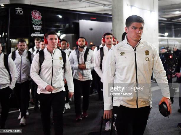 Dublin Ireland 2 February 2019 The England team led by Owen Farrell arrives prior to during the Guinness Six Nations Rugby Championship match between...