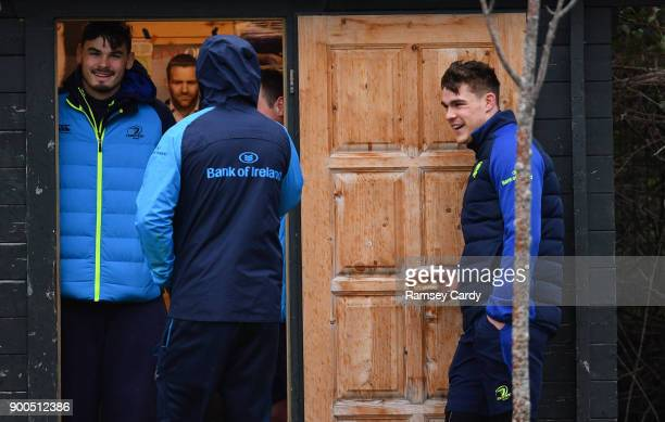 Dublin Ireland 2 January 2018 Max Deegan left and Garry Ringrose during Leinster Rugby squad training at UCD in Dublin