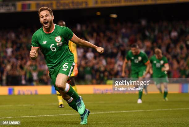 Dublin Ireland 2 June 2018 Alan Judge of Republic of Ireland celebrates after scoring his side's second goal during the International Friendly match...