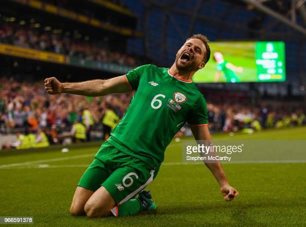Dublin Ireland 2 June 2018 Alan Judge of Republic of Ireland celebrates after scoring his side's winning goal during the International Friendly match...