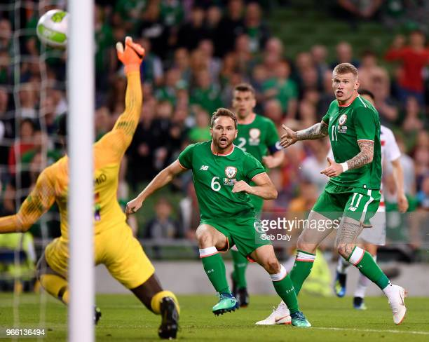 Dublin Ireland 2 June 2018 Alan Judge of Republic of Ireland shoots to score his side's second goal during the International Friendly match between...