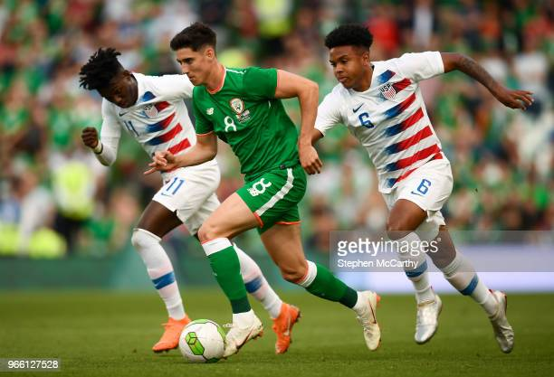 Dublin Ireland 2 June 2018 Callum O'Dowda of Republic of Ireland in action against Tim Weah left and Weston McKennie of United States during the...