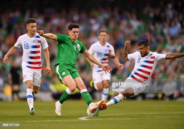 Dublin Ireland 2 June 2018 Callum O'Dowda of Republic of Ireland in action against DeAndre Yedlin of United States during the International Friendly...
